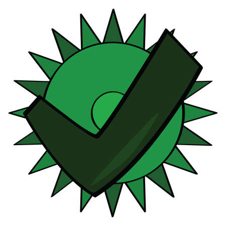 Symbol for an eco-friendly product, with a green approved theme Illustration