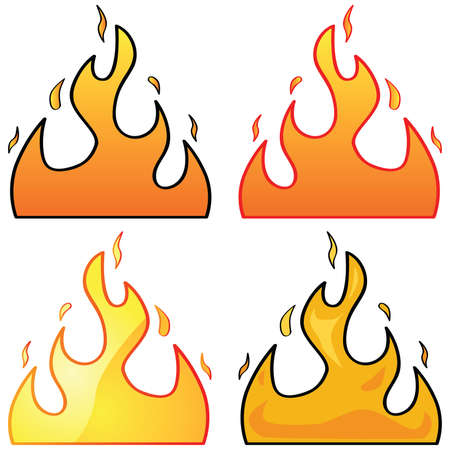 flame: Set with four different styles of flame illustrations Illustration