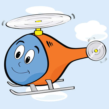 Cartoon illustration of a cute helicopter with a smiling face Иллюстрация