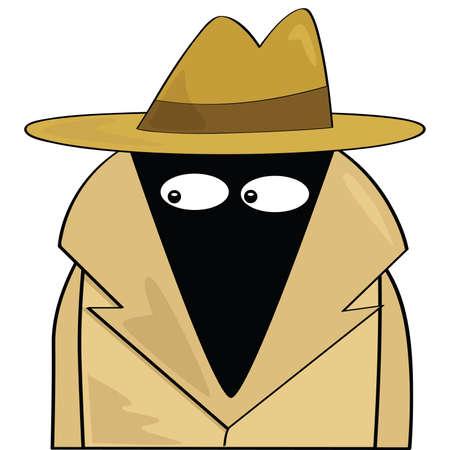 Cartoon illustratie van een spion dragen van een hoed en trenchcoat Stockfoto - 7420063