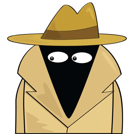 Cartoon illustration of a spy wearing a hat and trenchcoat