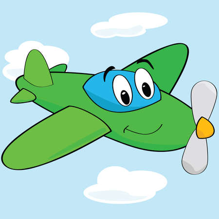 Cartoon illustration of a cute airplane with a smiling face Illustration