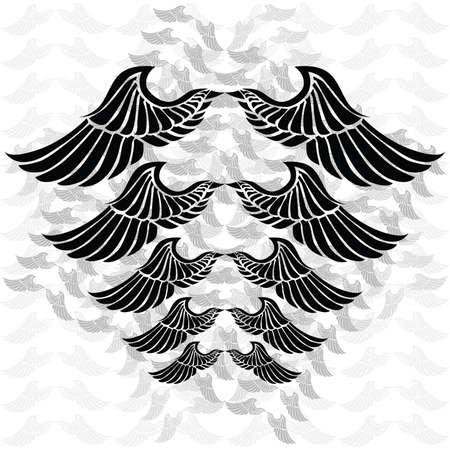 Illustratie van een paar vleugels in verschillende maten en kleuren. Achtergrond in aparte laag.