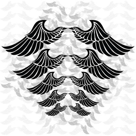 Illustration of a pair of wings in different sizes and tones. Background in separate layer. Illustration