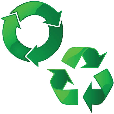 Illustration of two glossy recycling signs