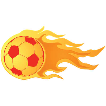 Illustration of a fast moving soccer ball on fire