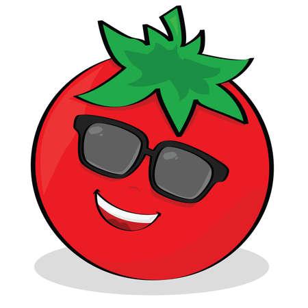 frutas divertidas: Ilustraci�n de la caricatura de un tomate fresco llevando gafas de sol  Vectores