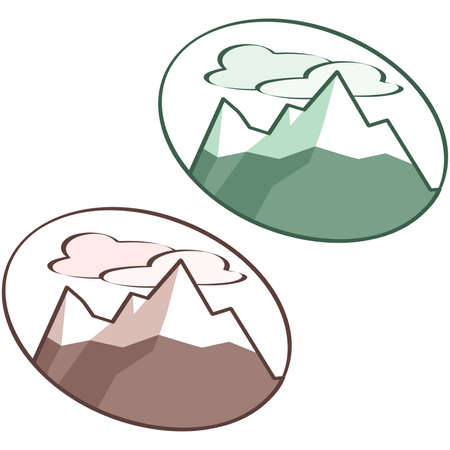 산맥: Illustration of a snow covered mountain range
