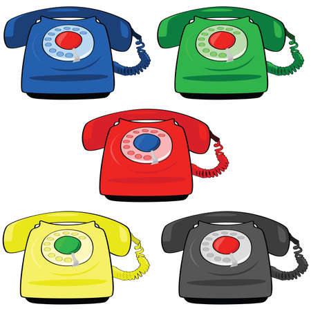 Illustration set of different colors of vintage telephones Ilustração