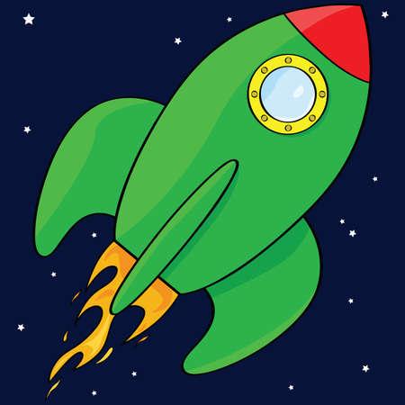 공간에서 녹색 로켓 우주선의 만화 그림
