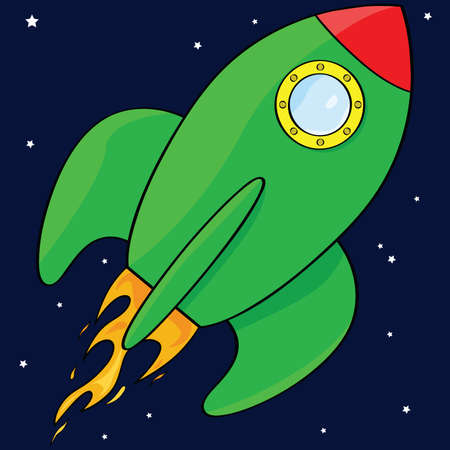 space: Cartoon illustration of a green rocket ship in space