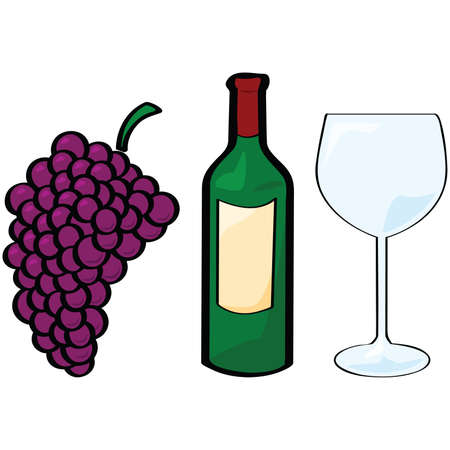 Cartoon illustration of different wine elements: grapes, bottle, glass