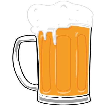 vasos de cerveza: Ilustraci�n de dibujos animados de una jarra de cerveza grandes