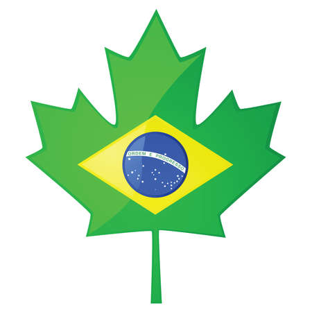 flag: Concept illustration showing the Brazilian flag inside a Canadian maple leaf