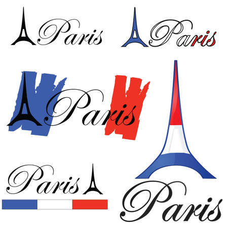 Set of concept designs for the city of Paris, France Иллюстрация