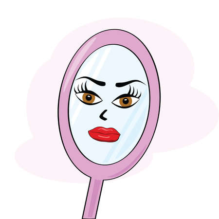 Cartoon illustration of a mirror with a womans face