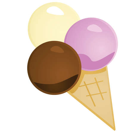 Glossy illustration of an ice cream cone with three scoops of ice cream Vector