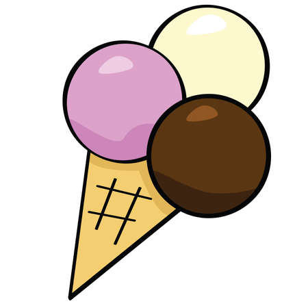 Cartoon illustration of an ice cream cone with three scoops of ice cream
