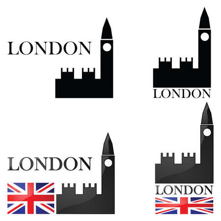 Concept set of illustrations for London showing an icon for the Big Ben alongside other elements such as the Union Jack Иллюстрация