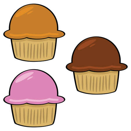 vegetable fat: Cartoon illustration of three muffins: carrot, chocolate and strawberry