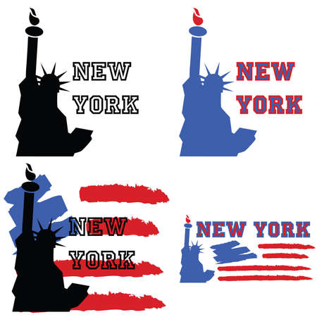 Concept set of illustrations about New York, with the Statue of Liberty and other elements like a stylized US flag Vettoriali