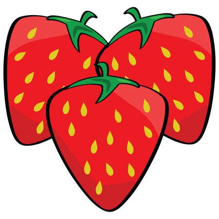 Cartoon illustratie van drie rijp en verse aardbeien