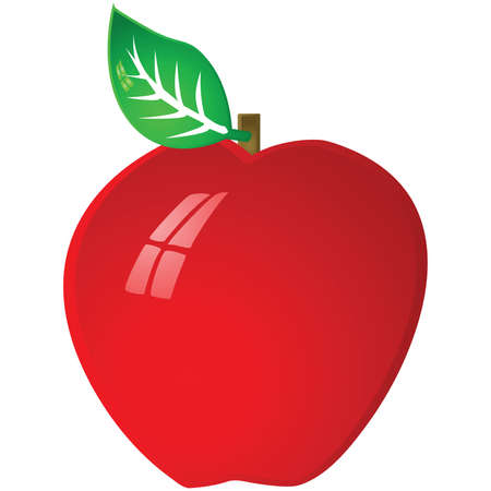 Glossy illustration of a red ripe apple