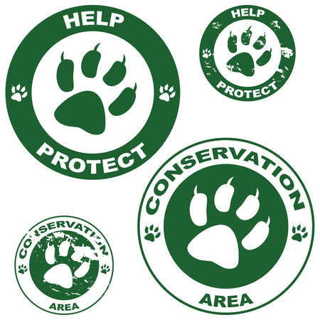 Set of stickers with conservation theme and an animal paw outline Ilustracja