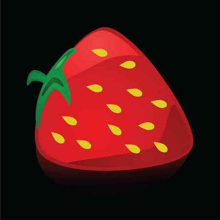 Glossy illustration of a red and ripe strawberry Иллюстрация