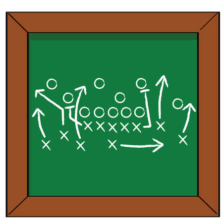 Cartoon illustration of a football game plan on a blackboard