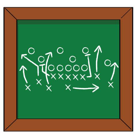 Fumetto illustrazione di un piano di gioco del calcio su una lavagna Archivio Fotografico - 7530372