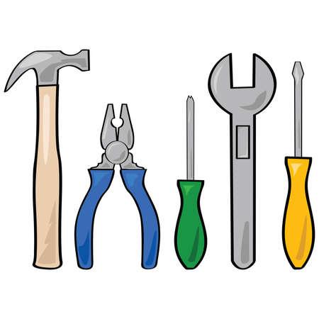 別の家庭用のツールのセットの漫画イラスト  イラスト・ベクター素材