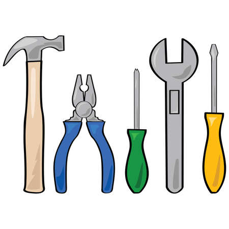 Cartoon illustration of a set of different household tools Illustration