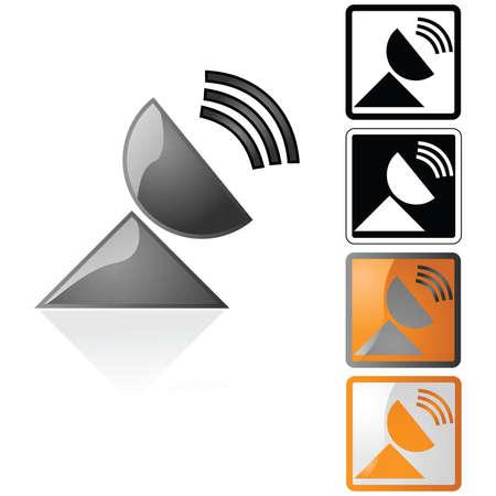 Icon illustration of a transmitting satellite dish Ilustração