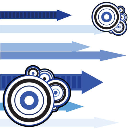 Abstract background illustration with arrows and circles in different shades of blue Illusztráció