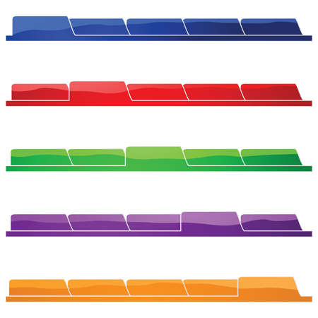 Glossy illustration layout showing five different folders. Great for presentations or websites