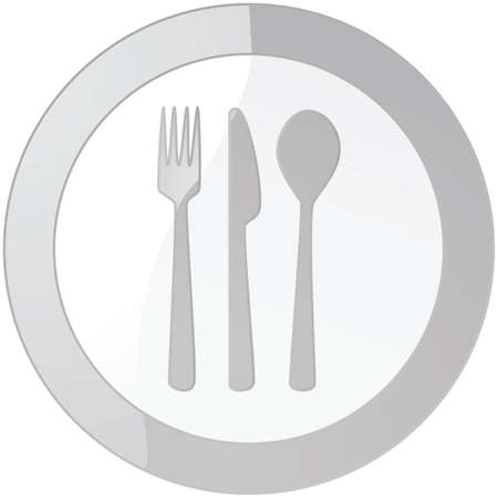 plate of food: Glossy illustration of a sign with a plate and cutlery Illustration