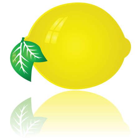 Glossy illustration of a bright yellow lemon
