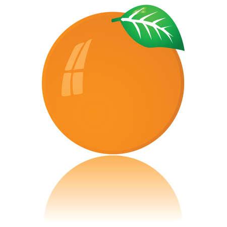 Glossy illustration of a ripe orange