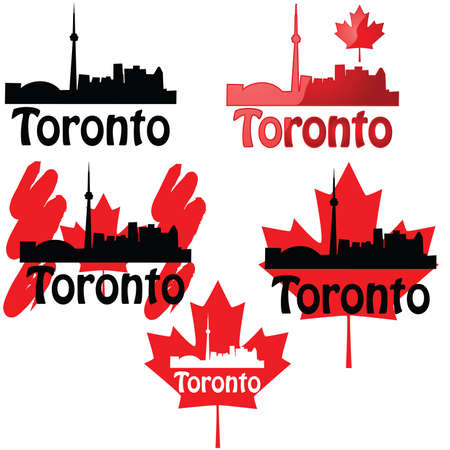 Set of icons using the Toronto skyline and the Canadian maple leaf