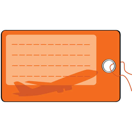 Illustration of a blank airplane luggage tag