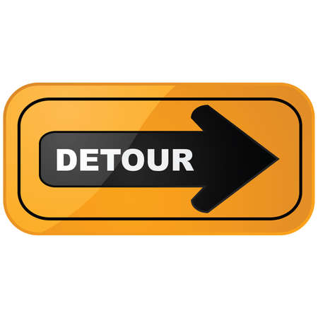 detour: Glossy illustration of a detour construction sign