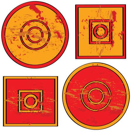 赤、オレンジ、グランジのテーマと丸みを帯びたと正方形の図形