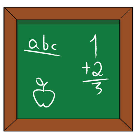 Cartoon illustration of a school blackboard with some basic reading, math and drawing exercises Vector