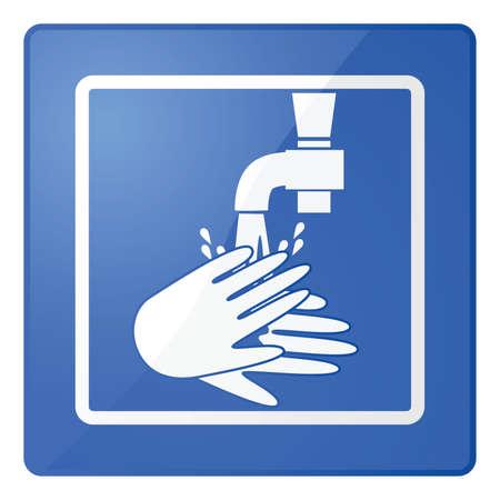 washroom: Ilustraci�n brillante de un signo para lavarse las manos