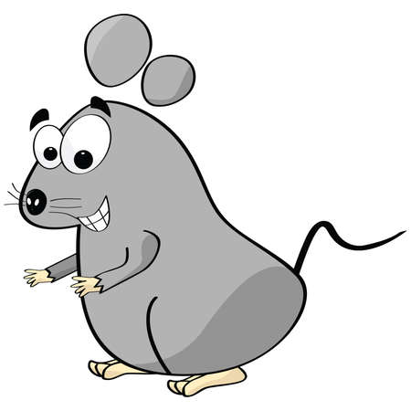 Cartoon illustration of a mouse making a happy face Vector