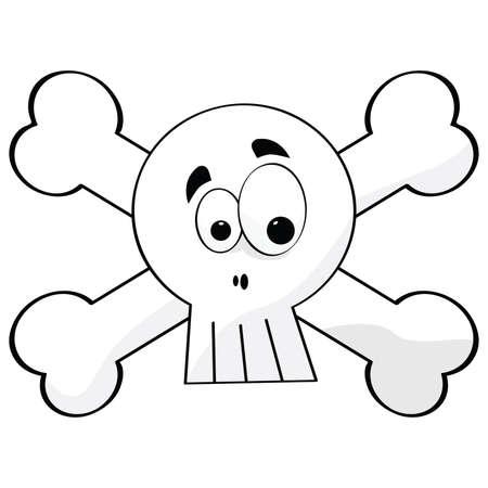 with humor: Cartoon illustration of a skull with crossed bones Illustration