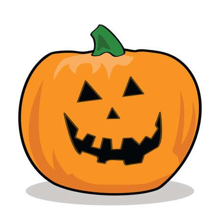 carved pumpkin: Cartoon illustration of a carved pumpkin for Halloween