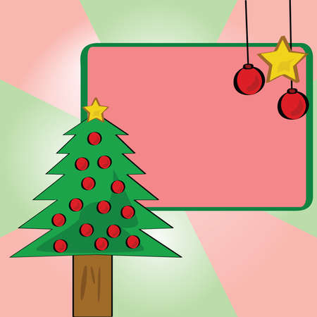 artboard: Illustration of a cartoon Christmas tree with a blank card and white space for writing your own message