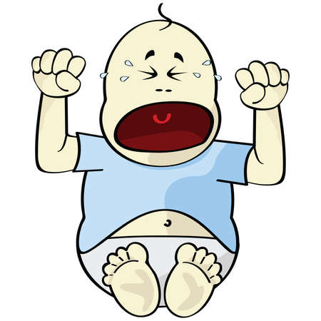 Cartoon illustration of a baby crying Stock Vector - 7558423